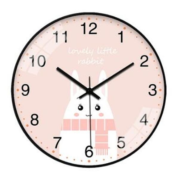 客廳時鐘 超靜音創意掛鐘卡通鐘表掛表可愛簡約家用客廳兒童房臥室掛墻【快速出貨八折搶購】