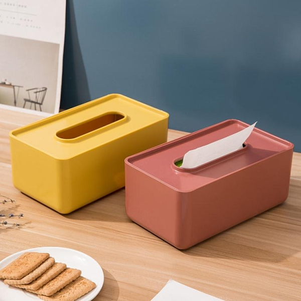 2個 家用創意長方形木質紙巾盒客廳茶幾簡約抽紙盒多功能汽車餐巾紙盒