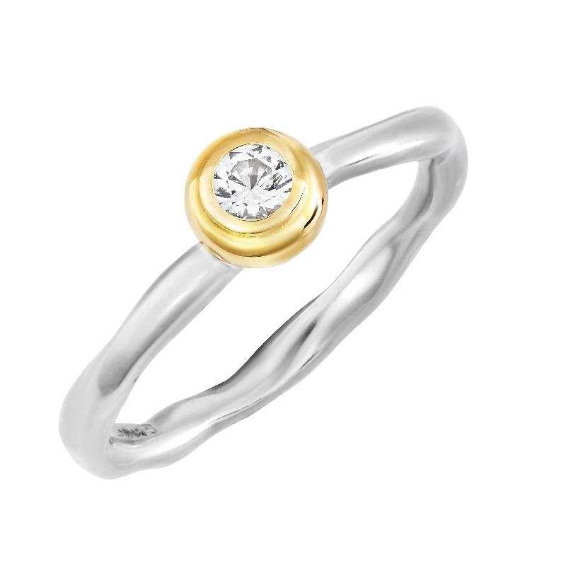 3mm Round White Sapphire Ripple Twinkle Ring