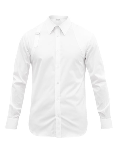 Alexander Mcqueen - Harness Cotton-blend Poplin Shirt - Mens - White
