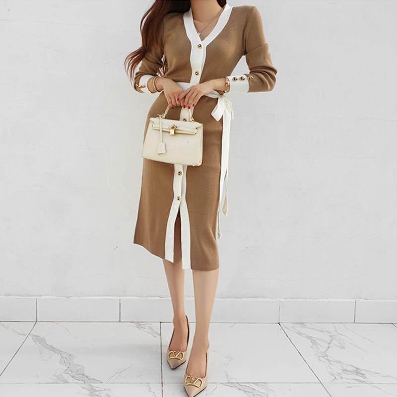 黑白撞色針織綁帶洋裝單排扣顯身材打底洋裝連身裙