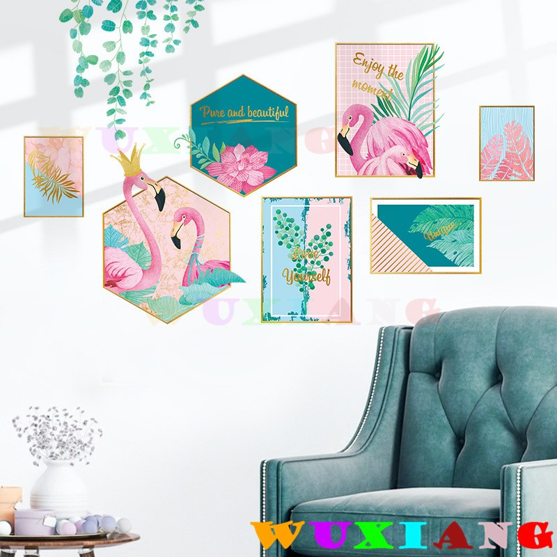 【五象設計】壁貼 照片墙贴纸 牆貼 窗貼 火烈鳥 居家裝飾 房間裝飾 墙面装饰