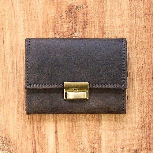 [敞開,付款順暢]可以輸入名稱硬幣盒全部皮革製成[棕色] HAK034