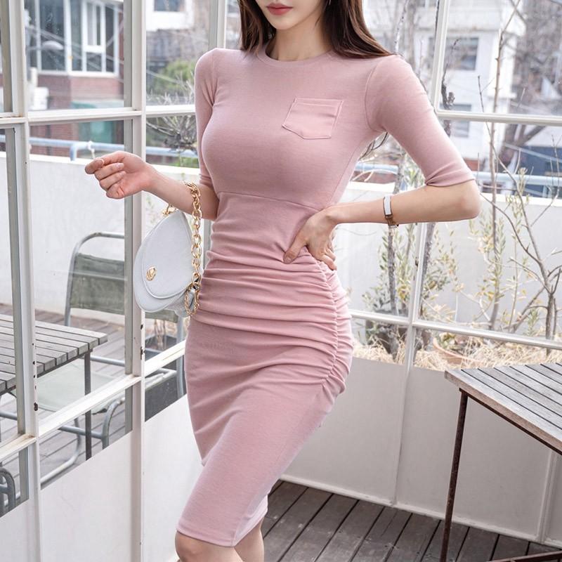 正韓洋裝簡約甜美棉質針織洋裝彈力修身顯身材洋裝側縮皺包臀連衣裙