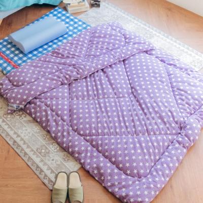 米夢家居-台灣製造-鄉村星星可水洗搖粒絨防瞞暖暖被/發熱被/保暖墊(152*215公分)-紫(2.6kg)