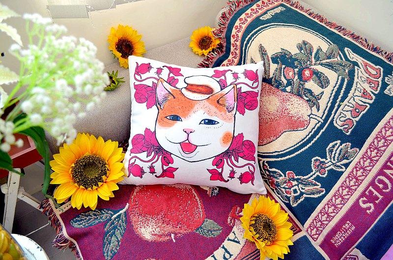 Gookaso原創繪本設計創作 薏米圖貓咪卡通絲絨質印花抱枕 45x45cm