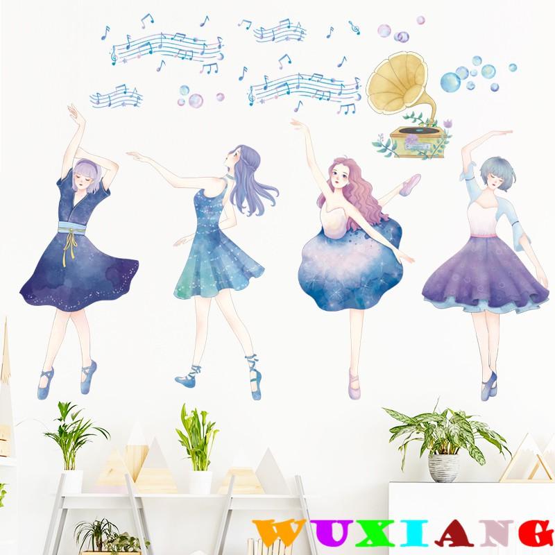 【五象設計】壁貼 牆貼卡通女孩舞蹈動作芭蕾培訓宣傳海報貼紙畫手繪自粘牆壁紙防水