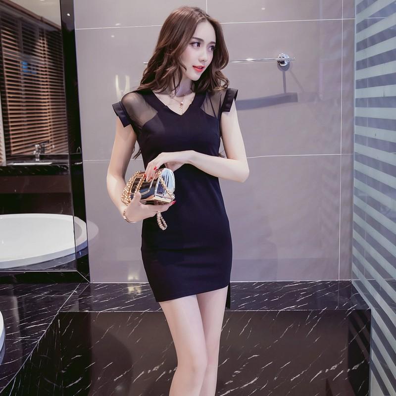 夜店洋裝燕尾裙 正韓洋裝 鏤空蕾絲拼接小性感洋裝 彈力緊身包臀洋裝 黑色迷你裙