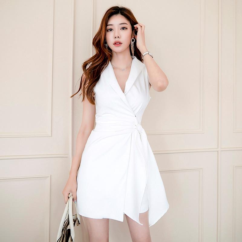 Office lady女生無袖洋裝正韓氣質上班族短洋裝a字裙宴會短洋裝小禮服