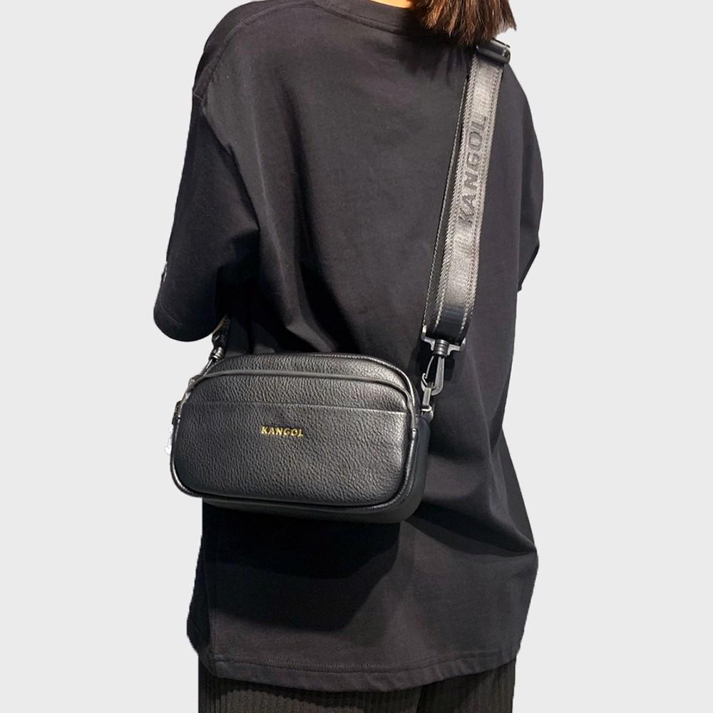 KANGOL 黑 經典 夾層 皮革 側背包 小方包 6025300420