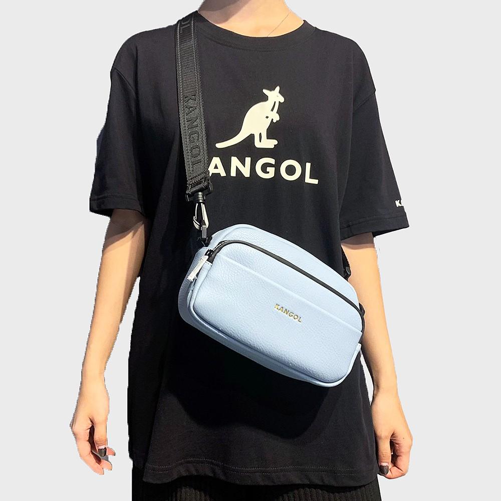 KANGOL 淺藍 經典 夾層 皮革 側背包 小方包 6025300482