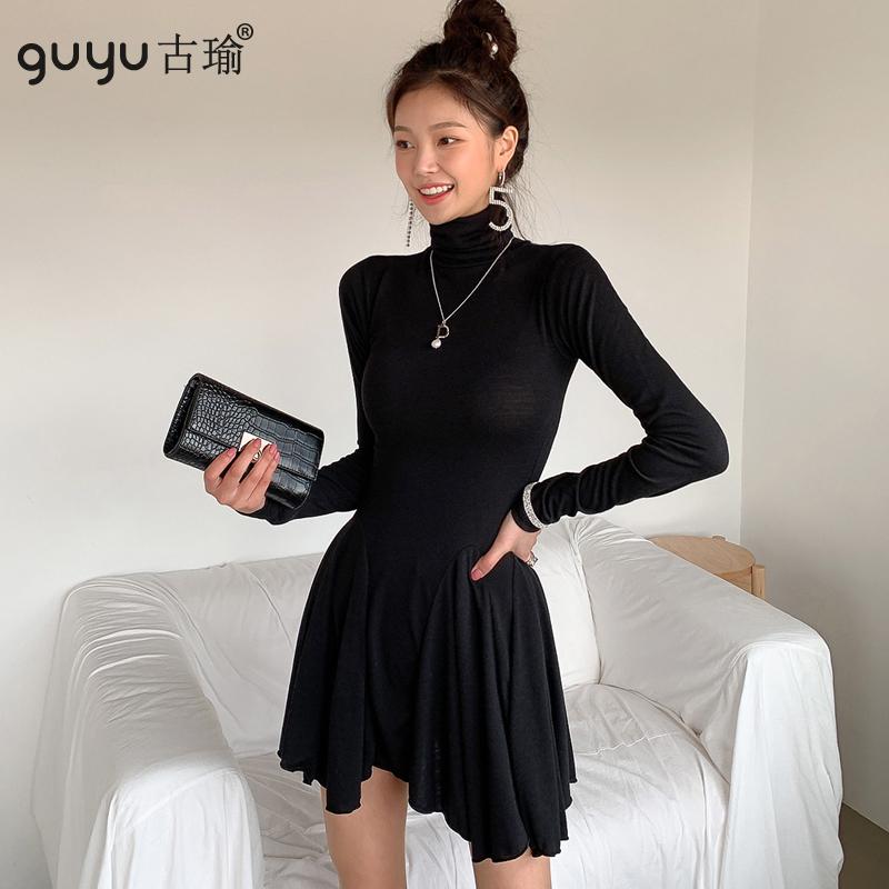 GUYU古瑜正韓小黑裙彈力針織傘裙洋裝顯瘦高領長袖短版A字連身裙
