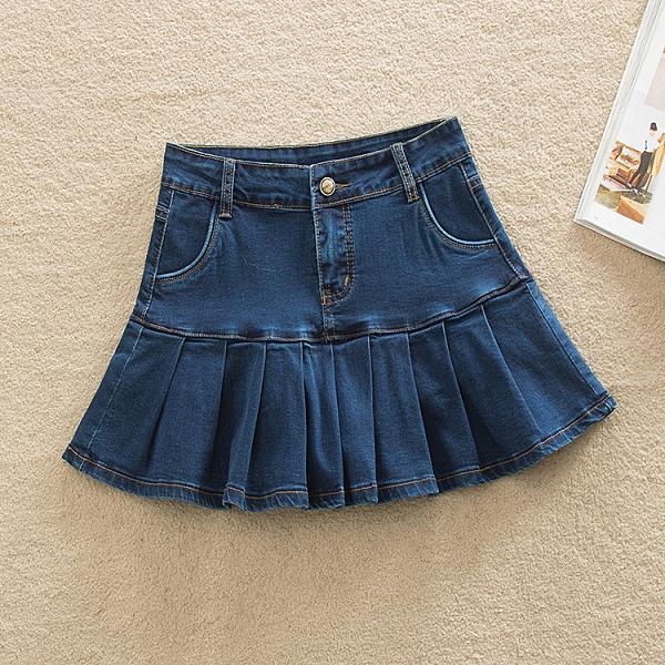 牛仔裙 潮流新品加大尺碼 辣妹魚尾裙胖mm牛仔短裙 夏季包臀荷葉裙彈力半身裙 店慶降價