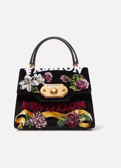 Dolce & Gabbana - Welcome 印花天鹅绒艾尔斯蛇皮中号手提包 - 黑色 - one size