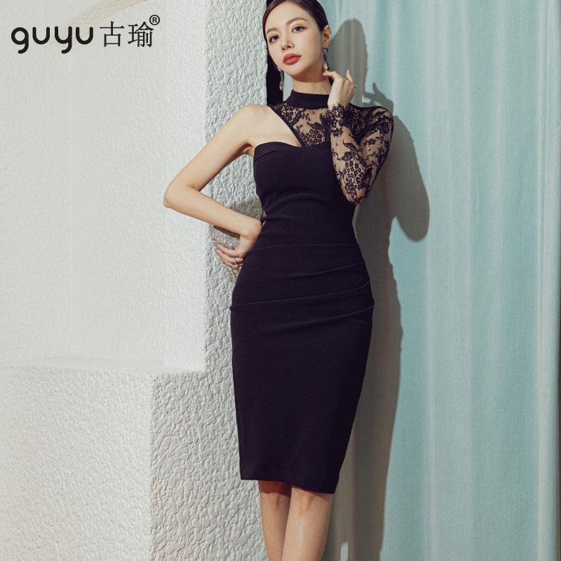 GUYU古瑜及膝洋裝透視蕾絲拼接不對稱黑色性感禮服合身尺碼連衣裙