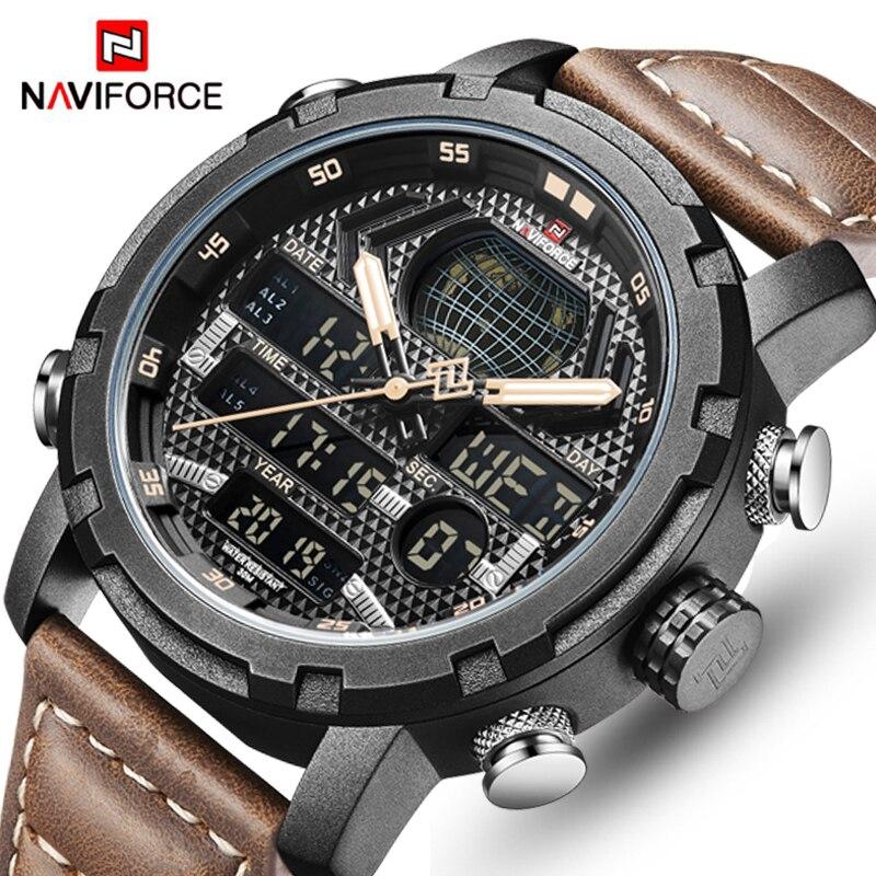 領翔NAVIFORCE男士時尚運動手錶男士皮革防水石英手錶男日期LED模擬時鐘新款