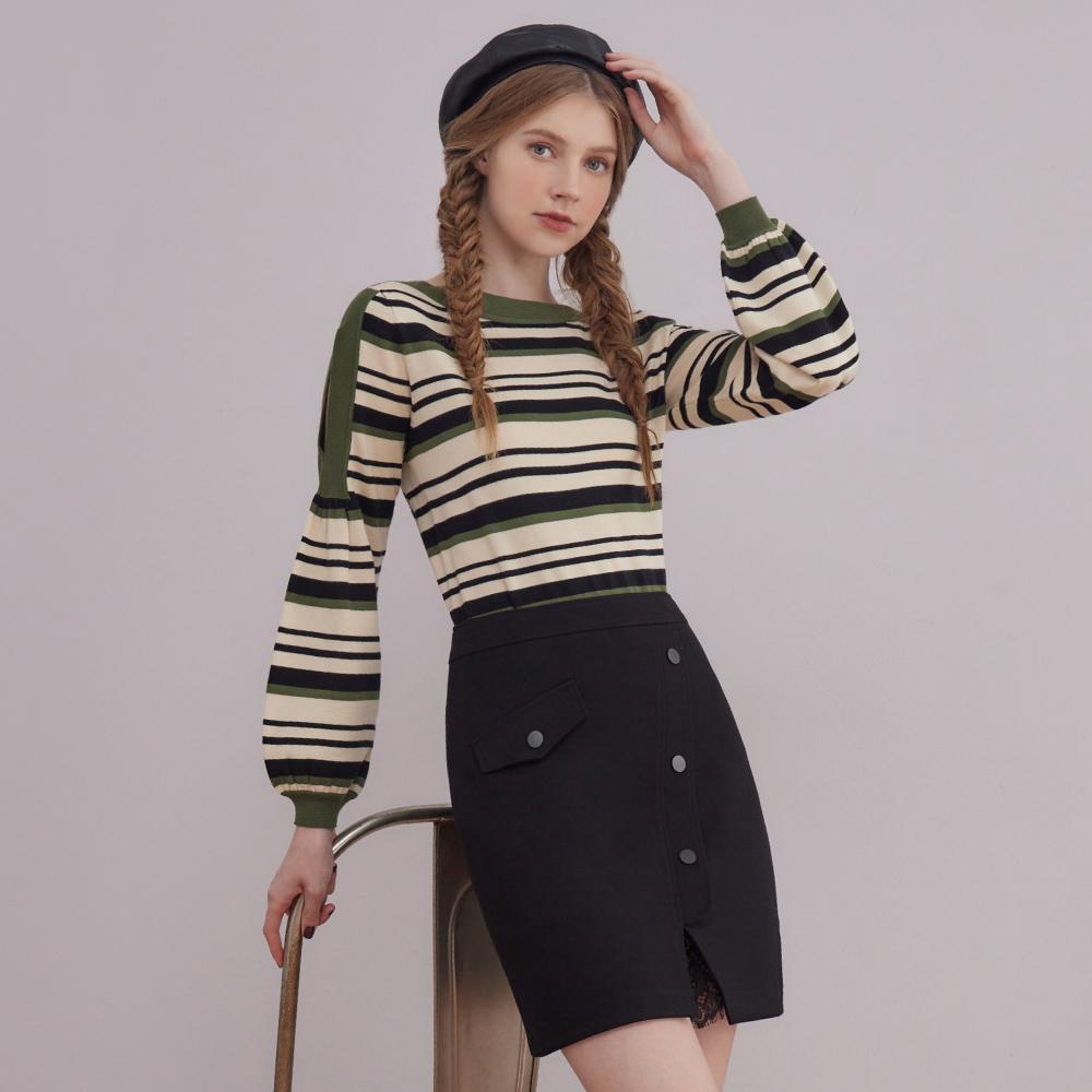 niceioi質感斜切排釦造型羅馬布短裙