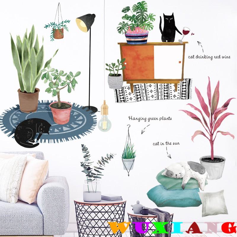 【五象設計】壁貼 牆貼卡通貓咪小清新植物ins風綠植綠葉臥室客廳背景牆自粘壁貼