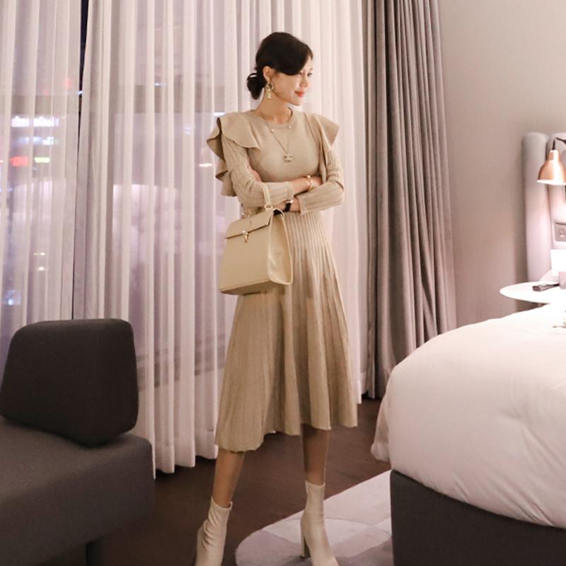正韓洋裝甜美針織大襬裙長洋裝秋冬女生穿著彈力收腰遮肚子連身洋裝