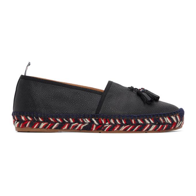 Thom Browne 黑色流苏草编鞋