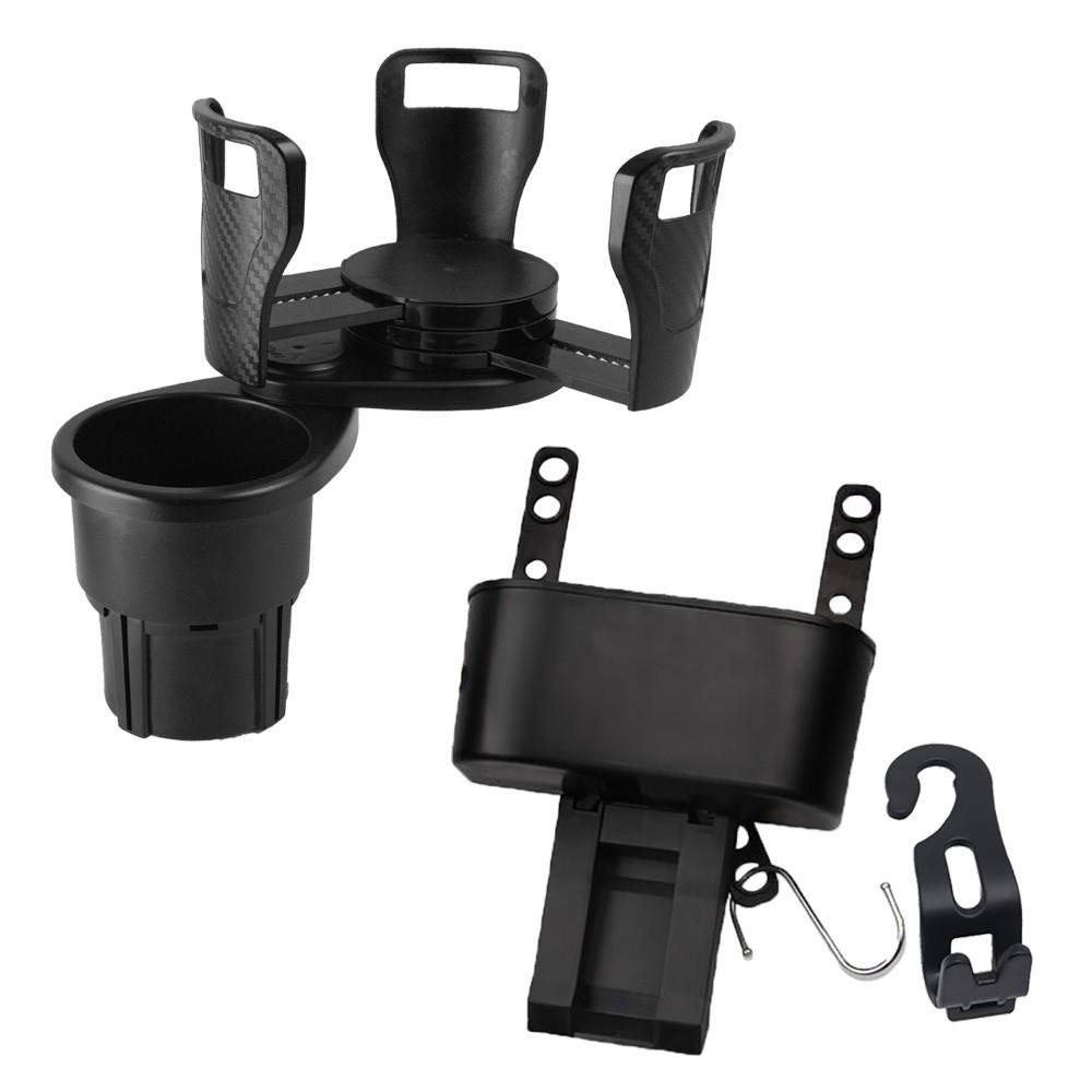 日本 idea-auto多功能旋轉雙杯架+三合一調整式置物盒+贈可摺疊收納車載掛勾 2入 廠商直送 現貨