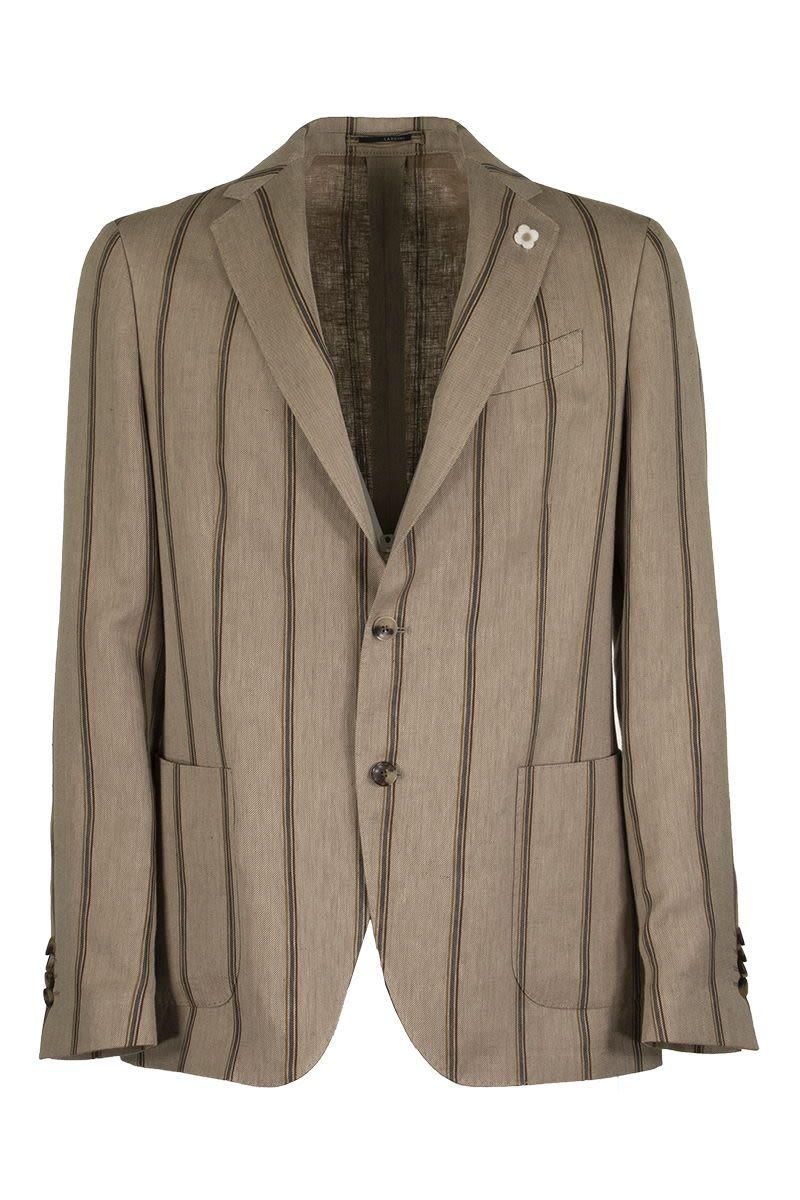 LARDINI Pinstripe pattern two-button single-breasted jacket