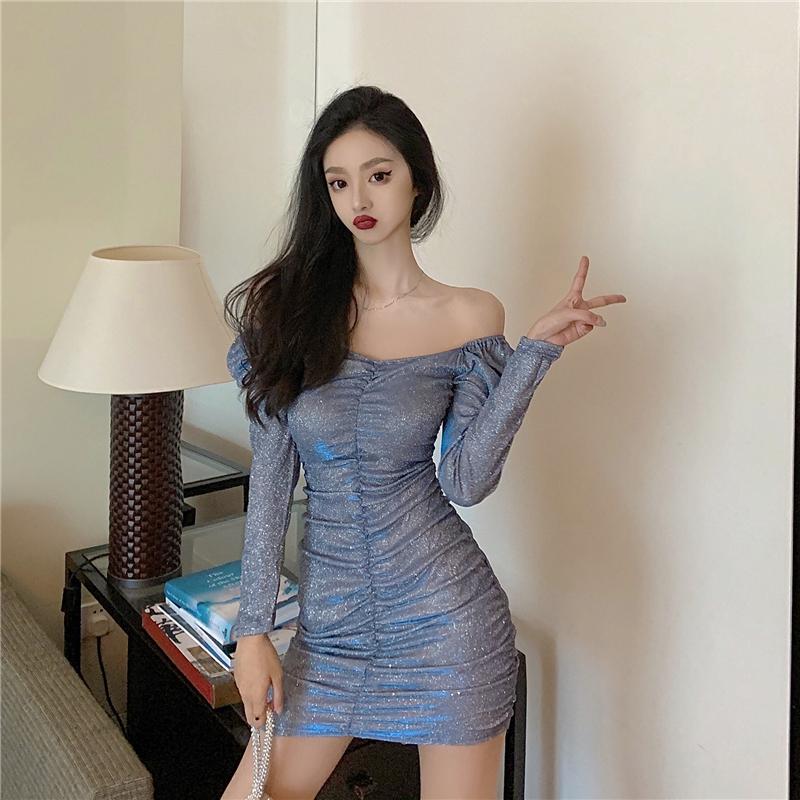 閃亮亮夜店裸肩洋裝長袖縮皺壓褶迷你洋裝性感party dress