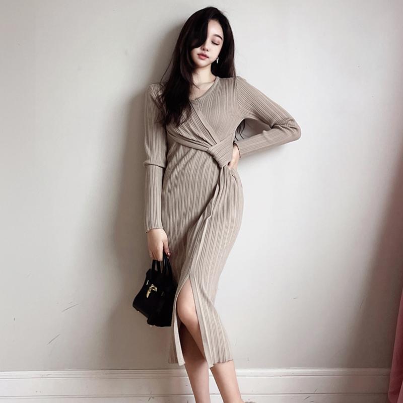 GUYU古瑜特別設計開衩針織洋裝長袖連衣裙
