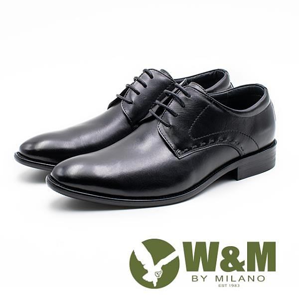 【南紡購物中心】W&M 真皮縫線造型綁帶皮鞋 男鞋 -黑(另有棕)