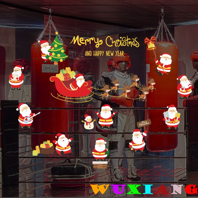 【五象設計】聖誕牆貼091 DIY 壁貼 耶誕節灑金效果貼紙 櫥窗玄關櫥櫃床頭一角節日裝飾牆貼