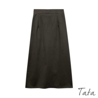 素面開岔毛呢包臀裙 共二色 TATA-F