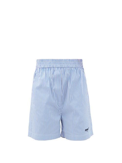MSGM - Elasticated-waist Striped Cotton-blend Shorts - Womens - Blue Stripe