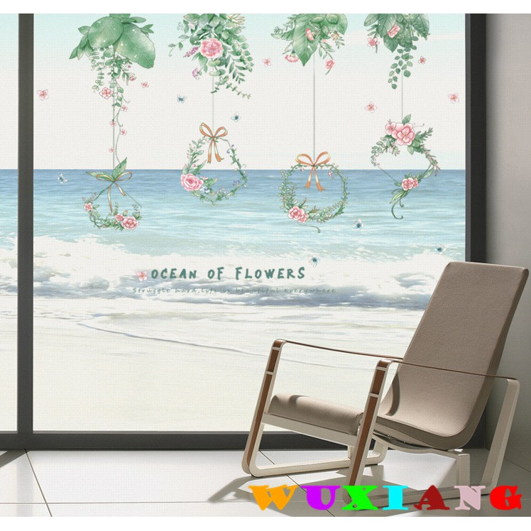 【五象設計】壁貼 貼紙 綠葉植物吊花 牆貼 臥室床頭玻璃門裝飾貼