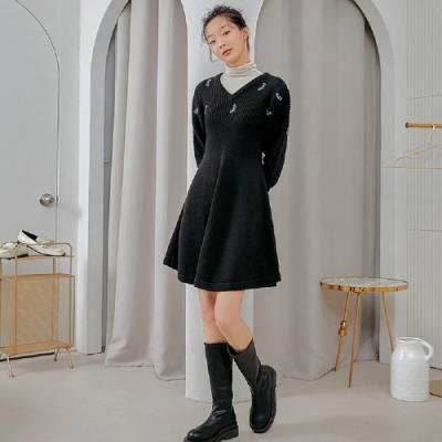 連身裙 氣質釘珠毛織長袖洋裝RJ6181-創翊韓都