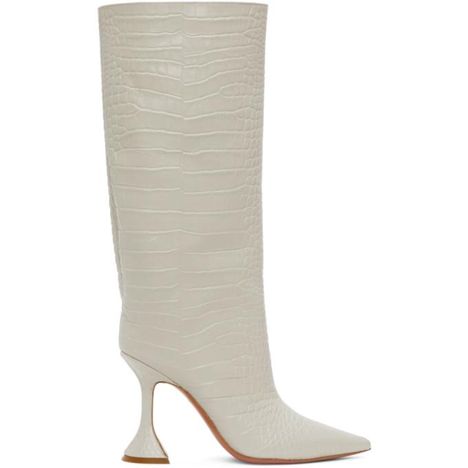 Amina Muaddi 灰白色 Rain 鳄鱼纹高筒靴