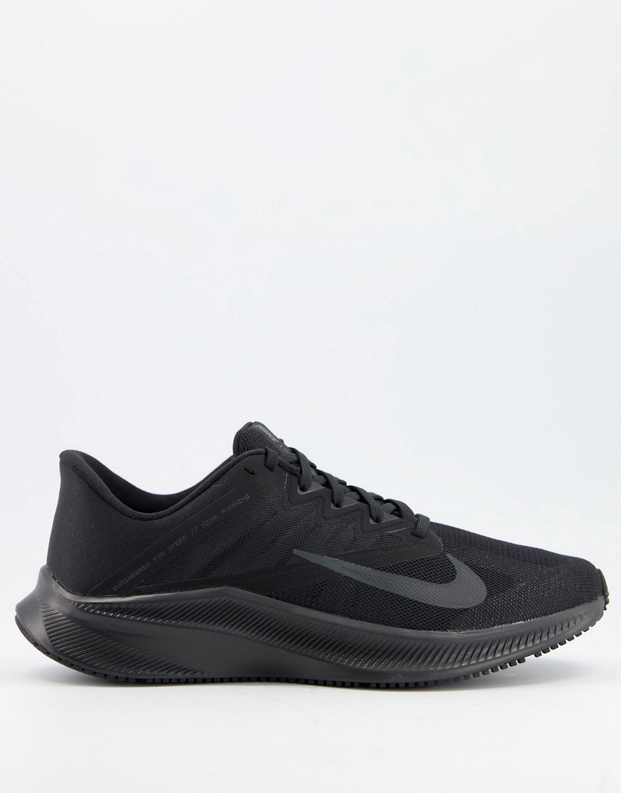 Nike Running Quest 3 trainers in triple black