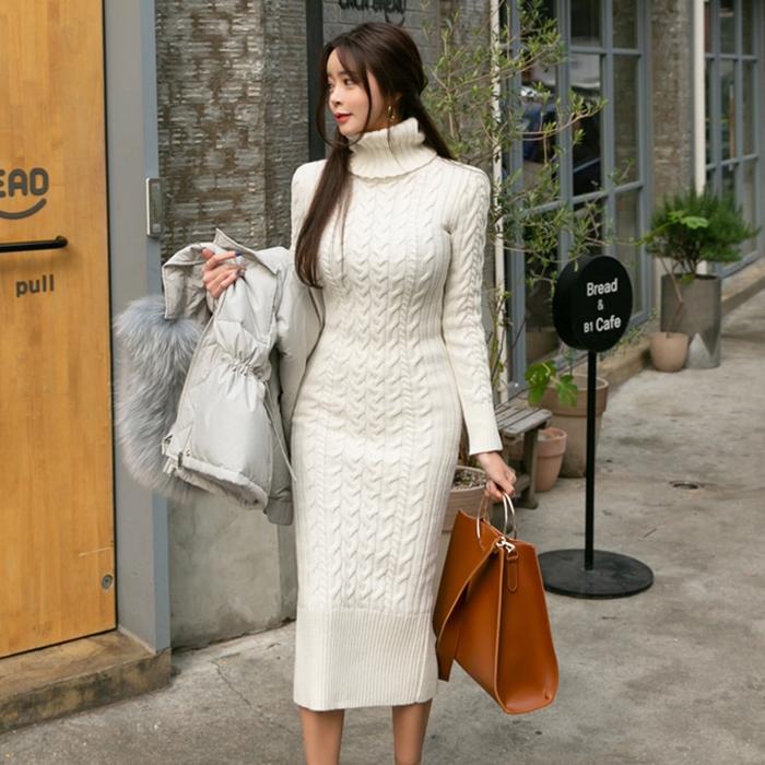 粗針麻花紋高領毛衣針織洋裝長洋彈力修身長袖女生正韓洋裝過膝連身裙