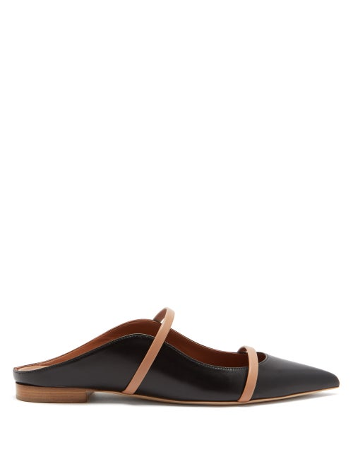 Malone Souliers - Maureen Backless Leather Flats - Womens - Black Nude