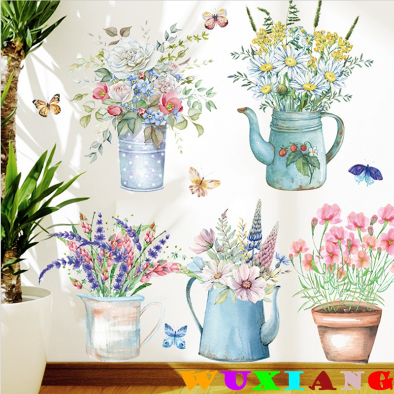 【五象設計】壁貼 牆貼 草花盆裝飾 貼紙 自粘牆紙 植物綠葉 防水 牆壁畫 小清新 ins風客廳