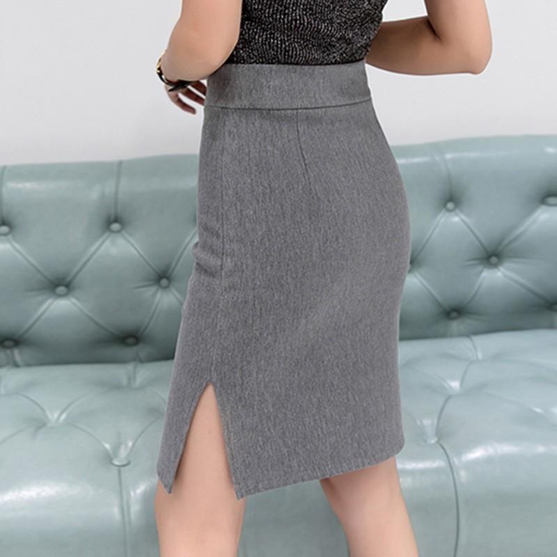 側開叉高腰包臀及膝裙子性感修身半身裙韓係