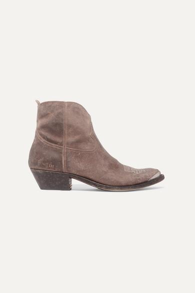Golden Goose - Young 仿旧带缀饰刺绣绒面革踝靴 - 灰褐色 - IT35