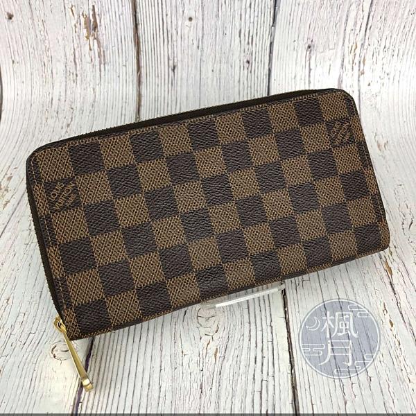 BRAND楓月 LOUIS VUITTON LV N60015 經典 棋盤格 拉鍊 長夾 錢夾 錢包 發財夾