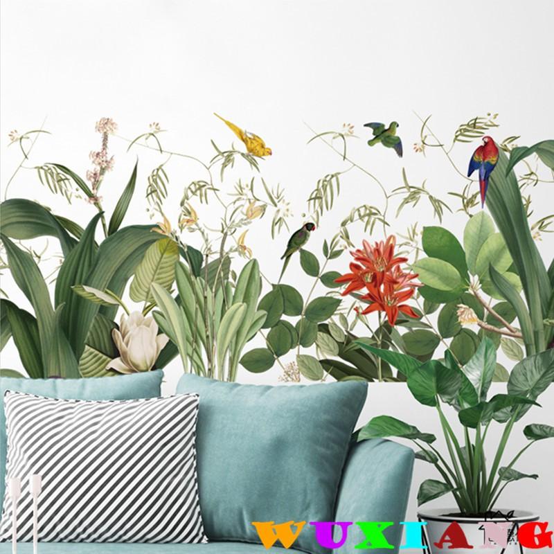 【五象設計】壁貼 牆貼 熱帶植物 文藝復古 踢腳線 牆角裝飾貼紙 壁紙 牆紙 自粘綠葉背景牆