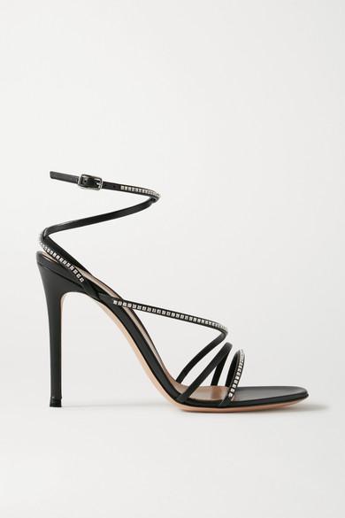Gianvito Rossi - 105 水晶缀饰皮革凉鞋 - 黑色 - IT35.5