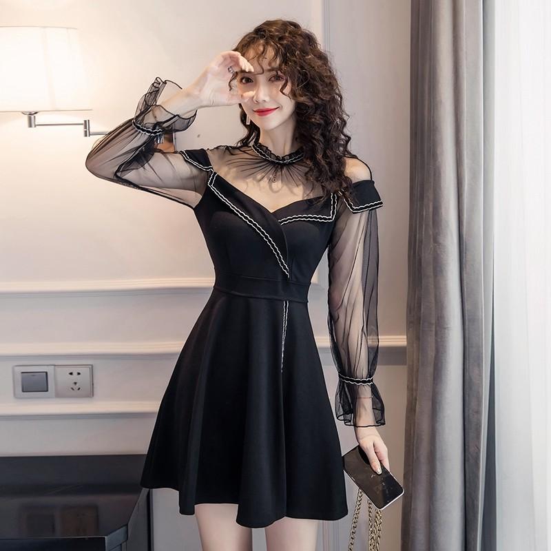透視性感秋季長袖宴會小洋裝收腰顯瘦a字連衣裙party dress