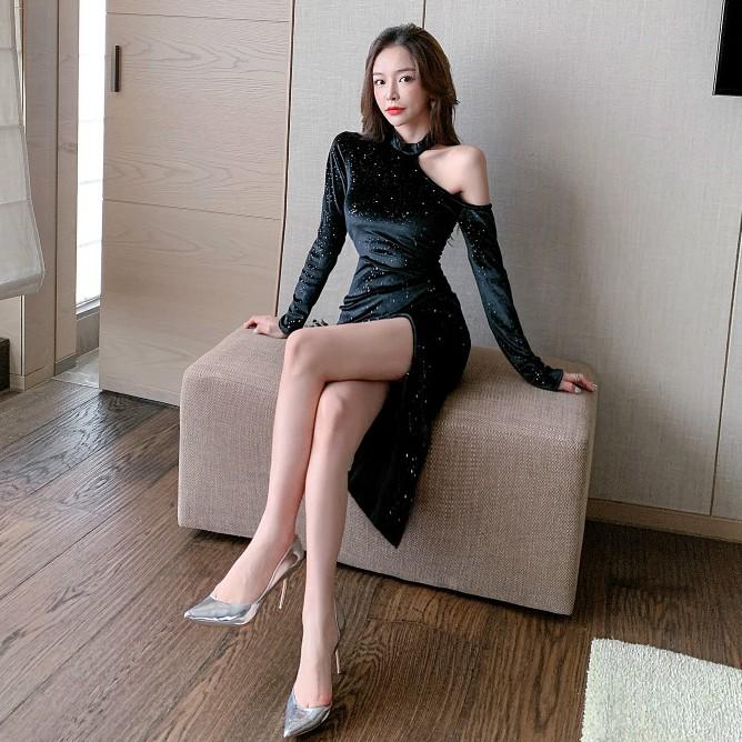 性感晚禮服亮晶晶絲絨開叉洋裝露肩開叉過膝緊身洋裝黑色連身裙