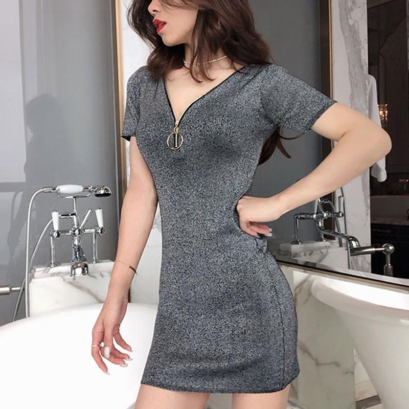 亮閃閃金絲夜店短洋裝拉鏈開胸性感包臀連身裙外出窄裙洋裝