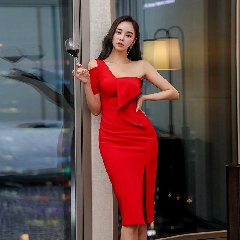 GUYU古瑜宴會婚禮紅色洋裝無袖裸肩性感合身尺碼洋裝及膝外出連身裙