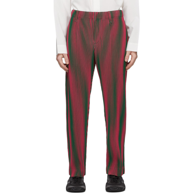 Homme Plisse Issey Miyake 粉色 Hologram Stripe 长裤