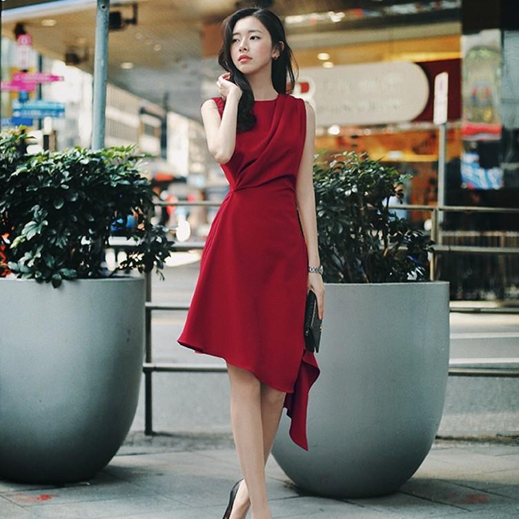 正韓紅色洋裝短洋新款名媛優雅收腰無袖女神氣質荷葉擺不規則連衣裙